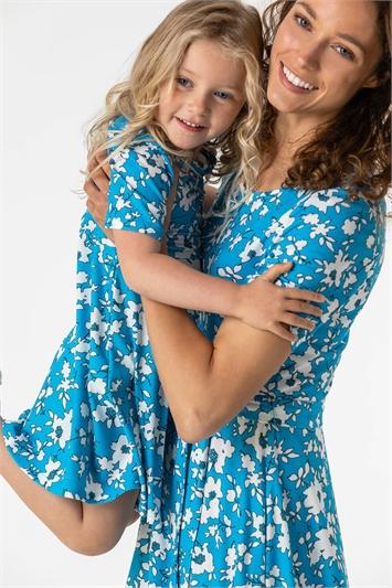 Blue Floral Print Belted Skater Dress , Image 1 of 5