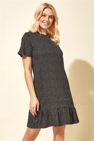 Spot Print Frill Hem Dress