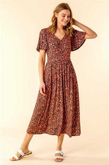 Button Detail Floral Tea Dress