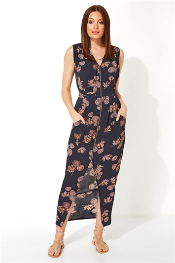 Leaf Zip Front Midi Dress