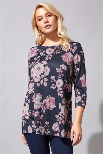 Square Neck Floral Print Tunic Top