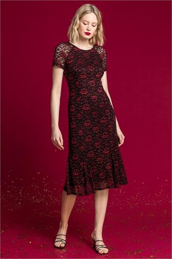 Red Shimmer Lace Fluted Hem Dress
