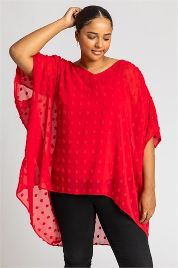 Red Curve Textured Spot Batwing Top