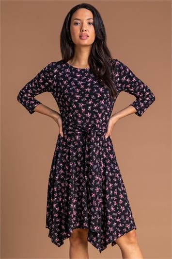 Pink Floral Hanky Hem Tie Detail Dress