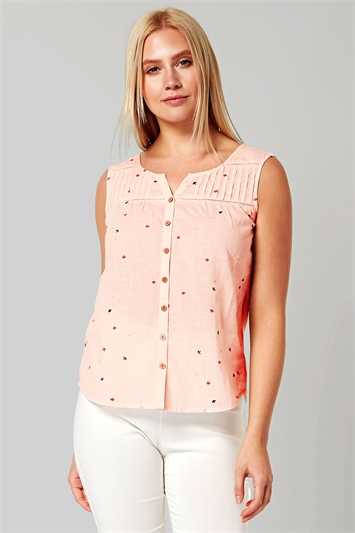 Embroidered Sleeveless Button Blouse