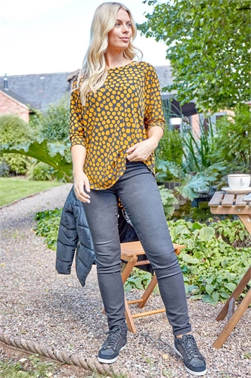 Spot Print Round Neck Tunic Top