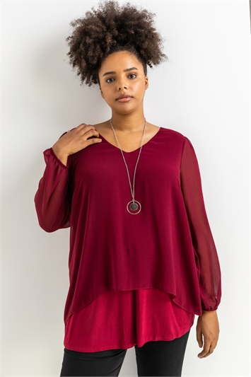 Port Curve Chiffon Top With Necklace