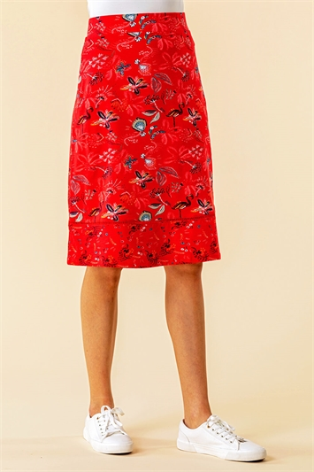 A Line Tropical Print Skirt