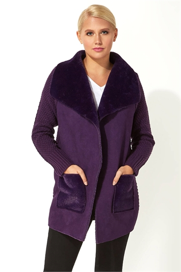 Faux Shearling Patch Pocket Cardigan