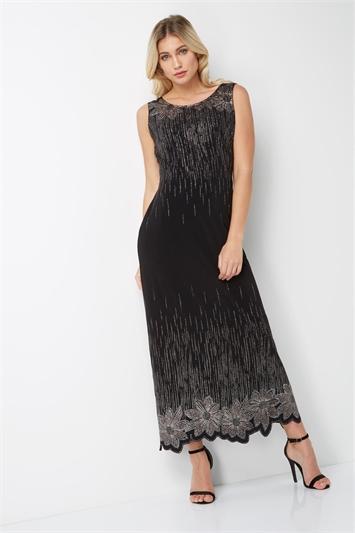 Glitter Floral Evening Maxi Dress