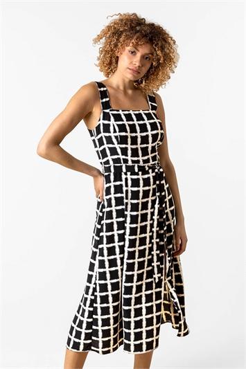 Belted Check Print Midi Dress