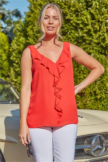 Sleeveless Ruffle Front Vest Top