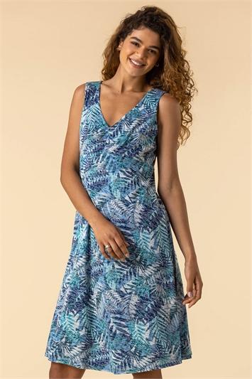 Blue Tropical Print Stretch Midi Dress, Image 1 of 4