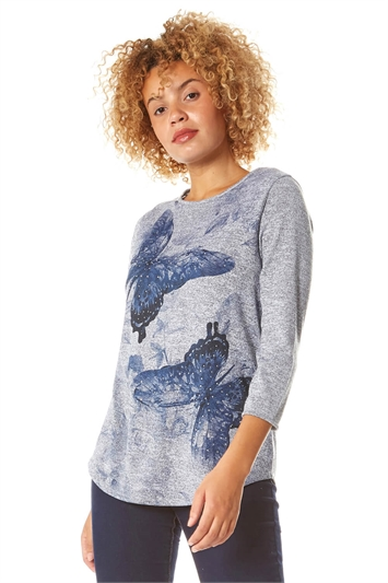 Butterfly Print 3/4 Sleeve Top