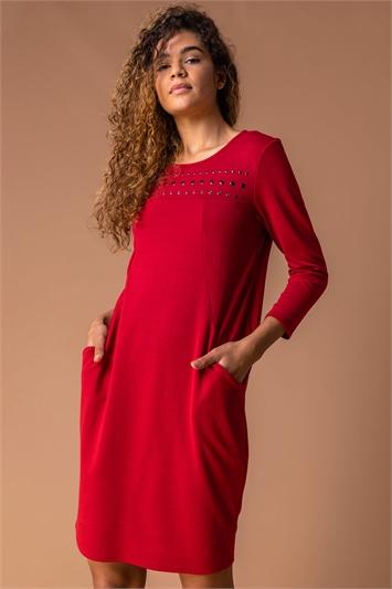 Wine Hotfix Pocket Detail Cocoon Dress, Image 1 of 4