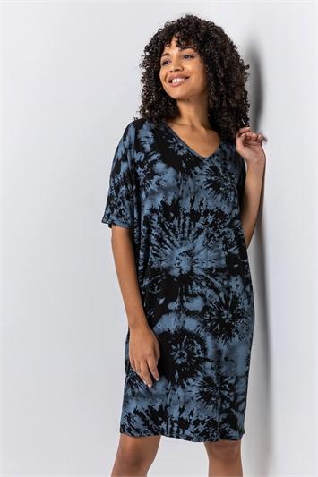 Blue Tie Dye Print Cocoon Dress