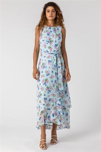 Blue Tie Waist Floral Print Maxi Dress