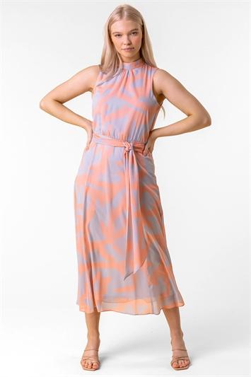 Abstract Print High Neck Midi Dress