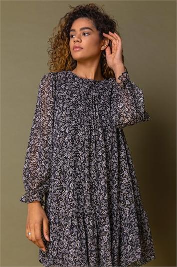 Black Paisley Foil Print Tunic Dress
