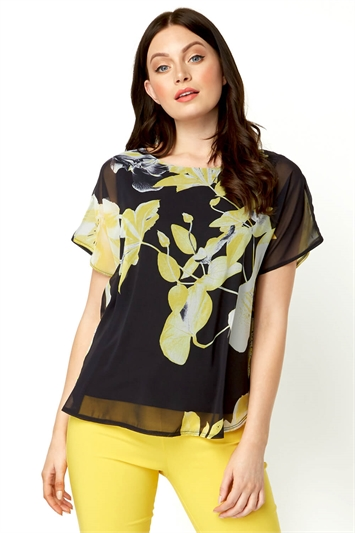 Floral Overlay Short Sleeve Top