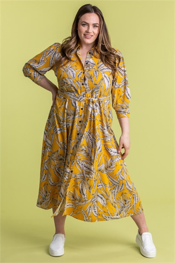 Curve Tropical Print Shirt Dress