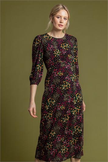 Black Patched Floral Print Midi Dress