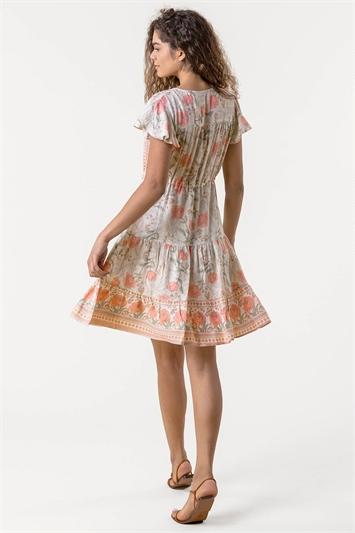 Floral Border Print Tiered Dress
