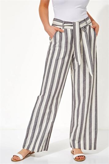 Stripe Linen Wide Leg Trousers