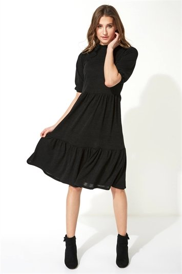 Puff Sleeve Knitted Midi Dress