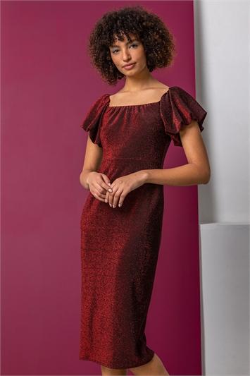 Red Puff Sleeve Sparkle Midi Dress