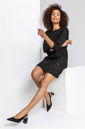 Black Star Print Jacquard Dress