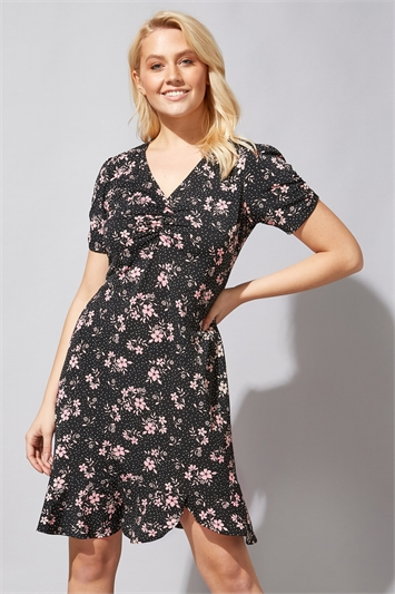 Floral Spot Frill Tea Dress