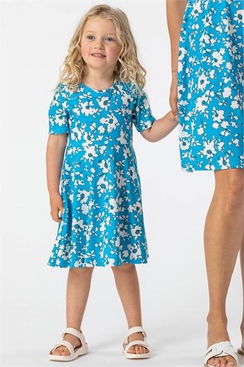 Blue Girls Floral Print Skater Dress