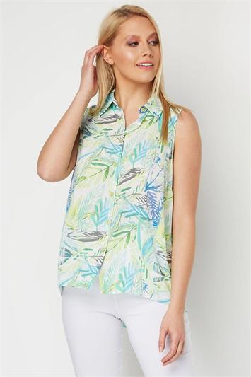 Tropical Leaf Button Front Blouse