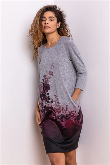 Silver Floral Border Print Slouch Dress, Image 1 of 4