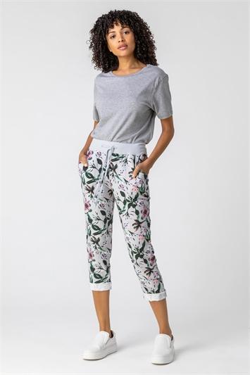 Light Grey Floral Print Roll Hem Cropped Pants