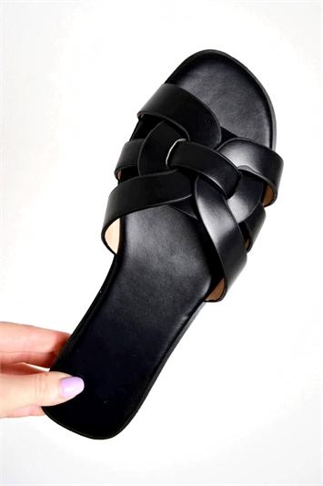 PU Link Strap Slider Sandals