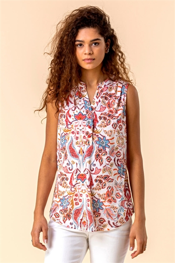 Paisley Floral Print Sleeveless Top