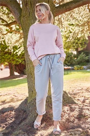 Plain Roll Cuff Lounge Pants