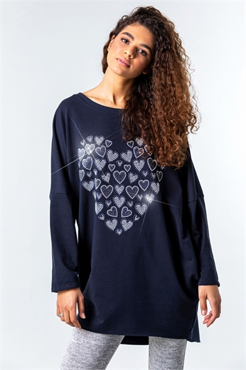 One Size Diamante Heart Print Top