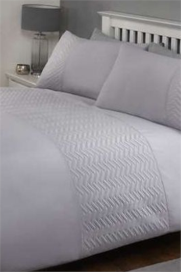 King Size Plain and Zig Zag Textured Duvet Cover Set