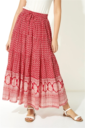 Tiered Boho Print Gypsy Skirt