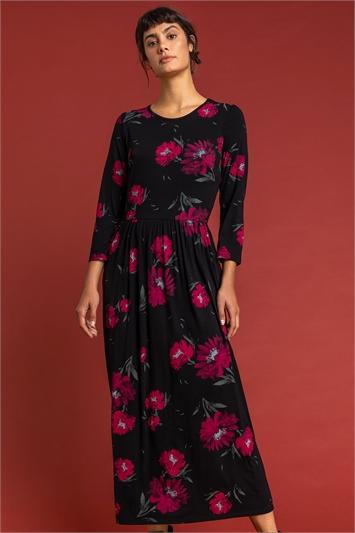 Black Floral Print Gathered Midi Dress, Image 1 of 5