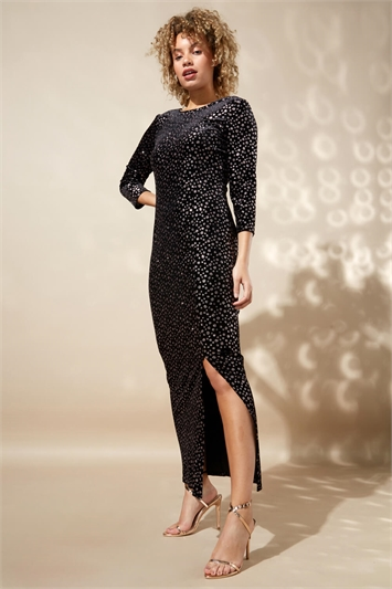 Glitter Spot Side Split Maxi Dress