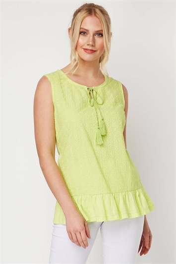 Frill Hem Textured Top