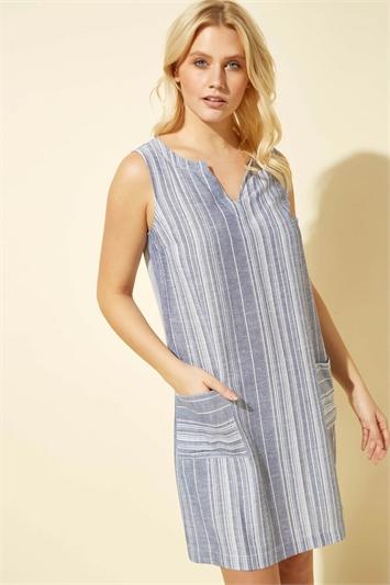 Blue Linen Stripe Print Dress