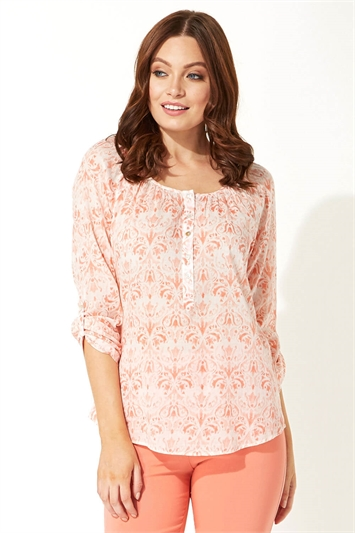 Printed Button Roll Sleeve Top