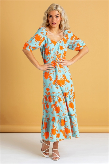Button Through Floral Print Midi Dress