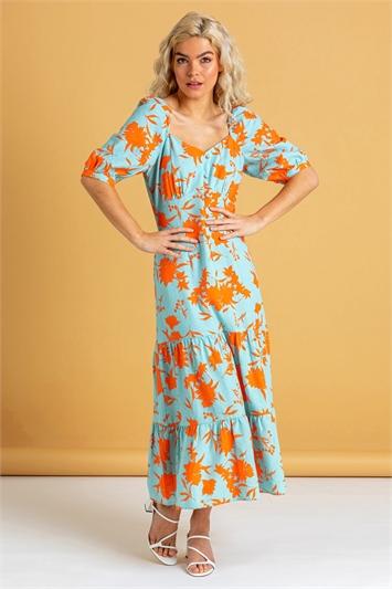 Orange Button Through Floral Print Midi Dress