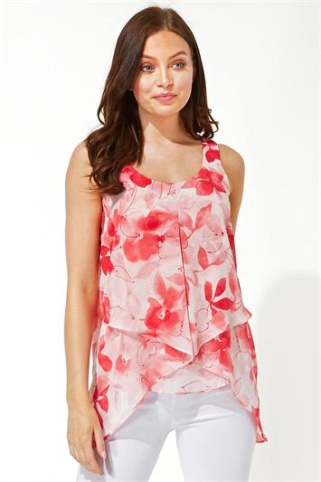 Floral Print Asymmetric Chiffon Vest Top
